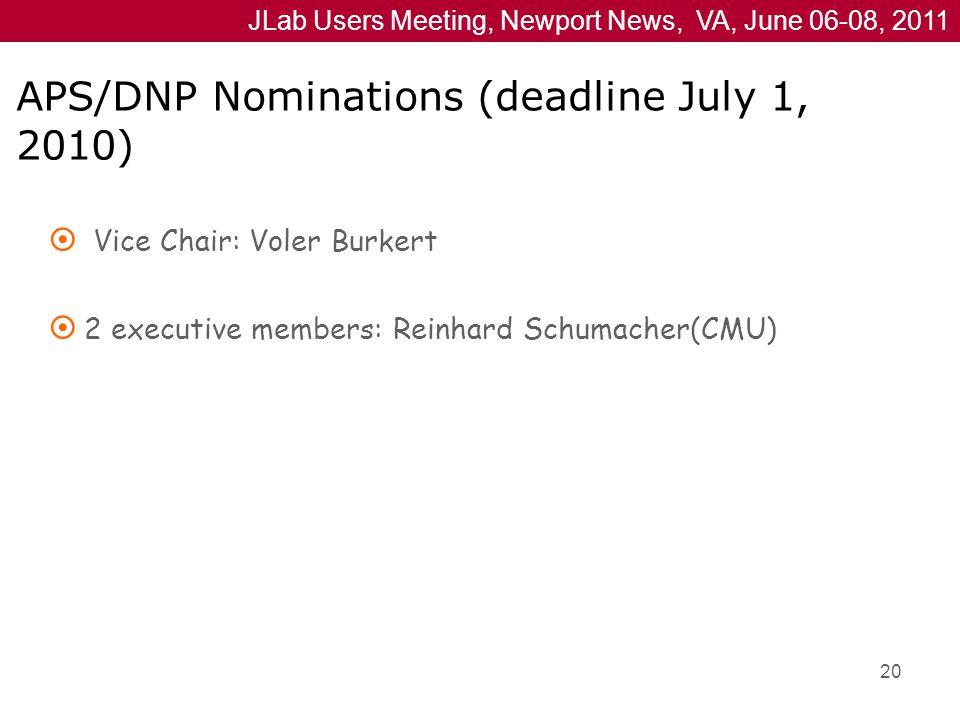 JLab Users Meeting, Newport News, VA, June 06-08, 2011 APS/DNP Nominations (deadline July 1, 2010)  Vice Chair: Voler Burkert  2 executive members: Reinhard Schumacher(CMU) 20