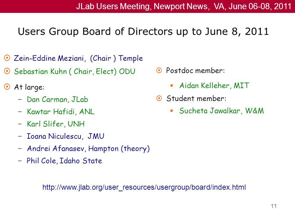 JLab Users Meeting, Newport News, VA, June 06-08, 2011 Users Group Board of Directors up to June 8, 2011  Zein-Eddine Meziani, (Chair ) Temple  Sebastian Kuhn ( Chair, Elect) ODU  At large: – Dan Carman, JLab – Kawtar Hafidi, ANL – Karl Slifer, UNH – Ioana Niculescu, JMU – Andrei Afanasev, Hampton (theory) – Phil Cole, Idaho State  Postdoc member:  Aidan Kelleher, MIT  Student member:  Sucheta Jawalkar, W&M http://www.jlab.org/user_resources/usergroup/board/index.html 11