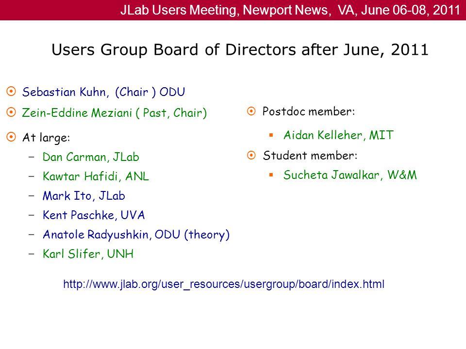 JLab Users Meeting, Newport News, VA, June 06-08, 2011 Users Group Board of Directors after June, 2011  Sebastian Kuhn, (Chair ) ODU  Zein-Eddine Meziani ( Past, Chair)  At large: – Dan Carman, JLab – Kawtar Hafidi, ANL – Mark Ito, JLab – Kent Paschke, UVA – Anatole Radyushkin, ODU (theory) – Karl Slifer, UNH  Postdoc member:  Aidan Kelleher, MIT  Student member:  Sucheta Jawalkar, W&M http://www.jlab.org/user_resources/usergroup/board/index.html