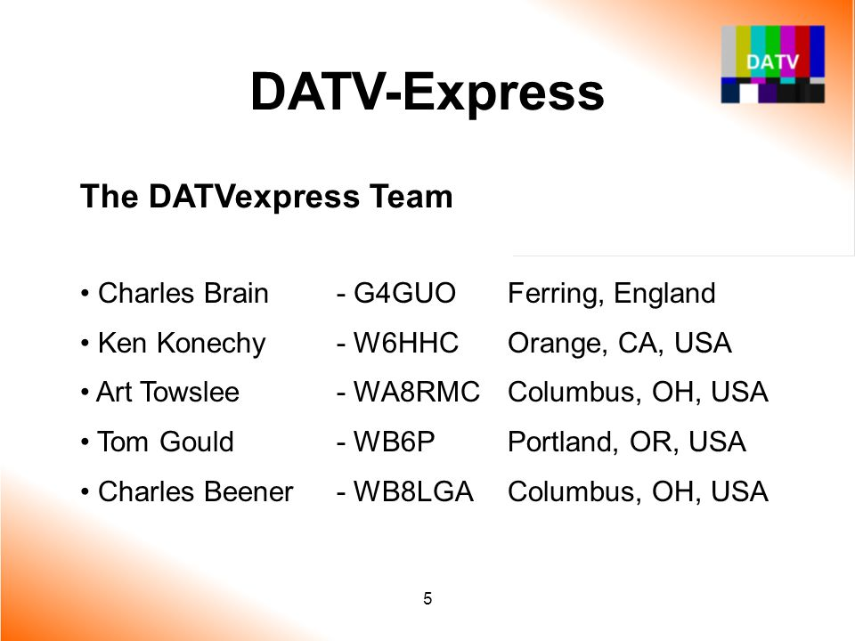 6 DATV-Express Overview of DATVexpress System Video Capture card for MPEG-2 encoding PC (Linux or Win) performs DVB-S processing and outputs I/Q stream Simple Hardware board exciter preps I/Q stream and does QPSK modulation at 1.3 GHz Just add RF Power Amps and Antenna