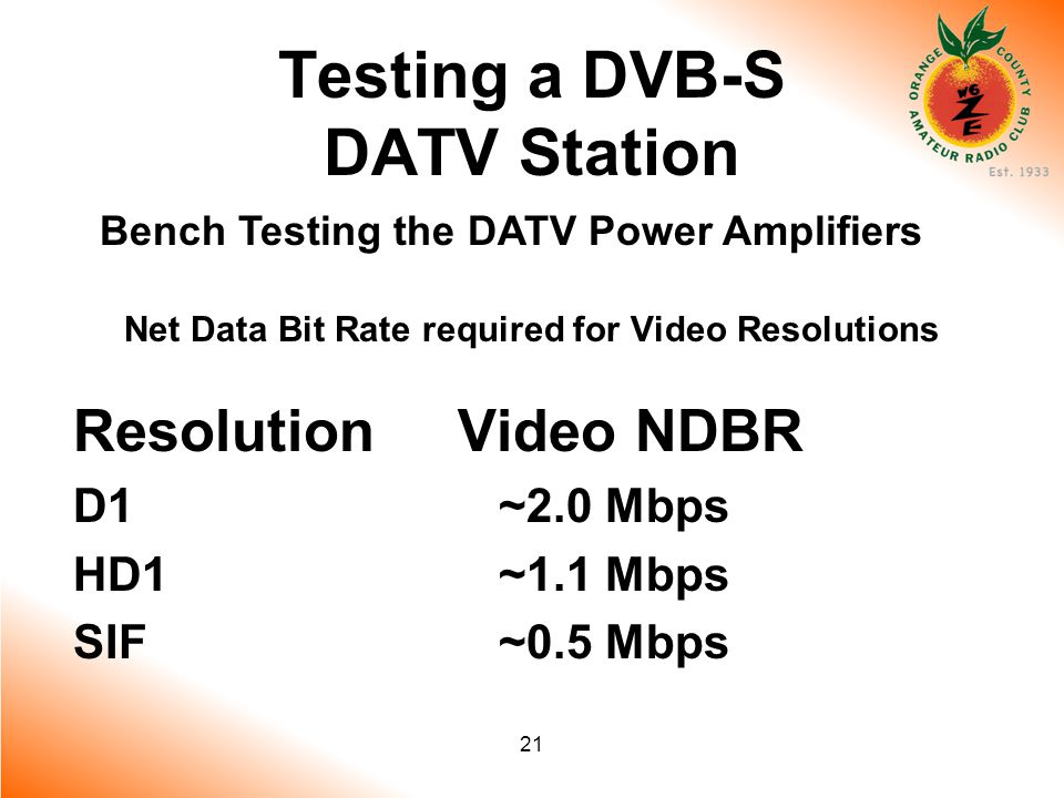 21 Testing a DVB-S DATV Station Bench Testing the DATV Power Amplifiers Net Data Bit Rate required for Video Resolutions Resolution Video NDBR D1 ~2.0 Mbps HD1 ~1.1 Mbps SIF ~0.5 Mbps