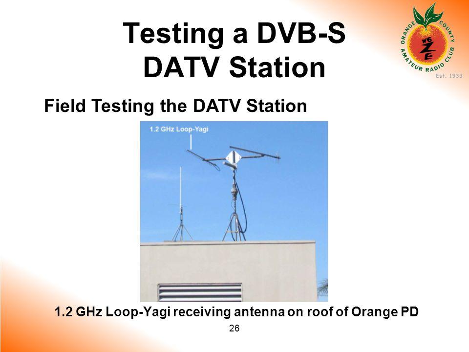 26 Testing a DVB-S DATV Station Field Testing the DATV Station 1.2 GHz Loop-Yagi receiving antenna on roof of Orange PD