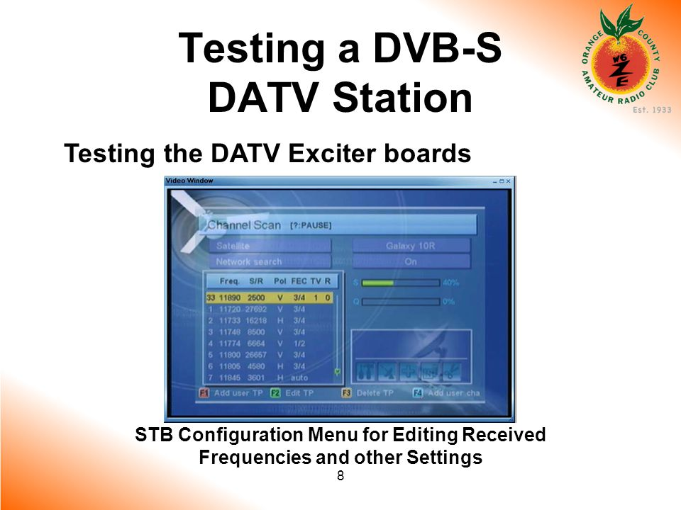 8 Testing a DVB-S DATV Station Testing the DATV Exciter boards STB Configuration Menu for Editing Received Frequencies and other Settings