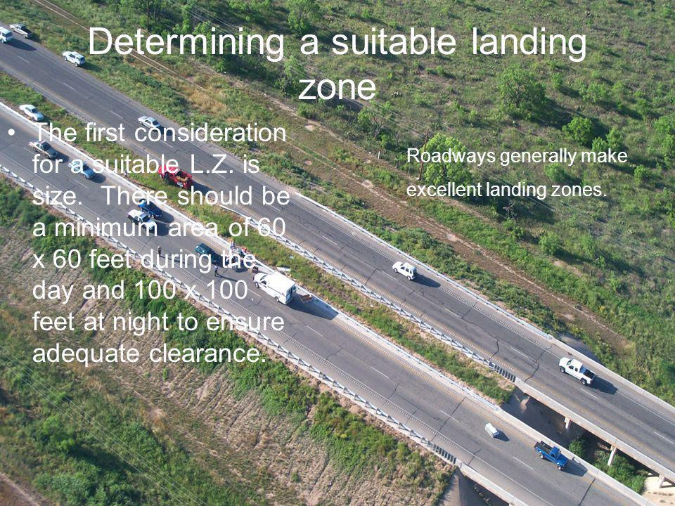 Determining a suitable landing zone The first consideration for a suitable L.Z.