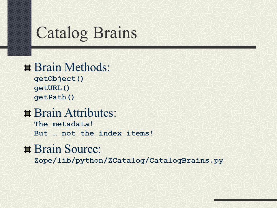 Catalog Brains Brain Methods: getObject() getURL() getPath() Brain Attributes: The metadata.