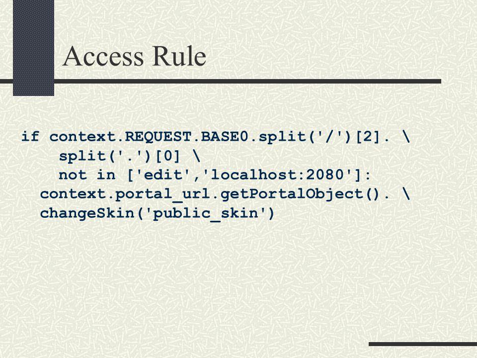Access Rule if context.REQUEST.BASE0.split( / )[2].