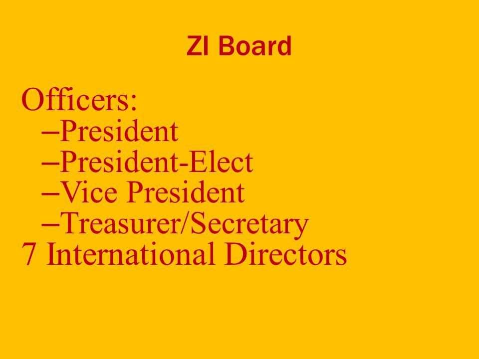 ZI Board Officers: – President – President-Elect – Vice President – Treasurer/Secretary 7 International Directors
