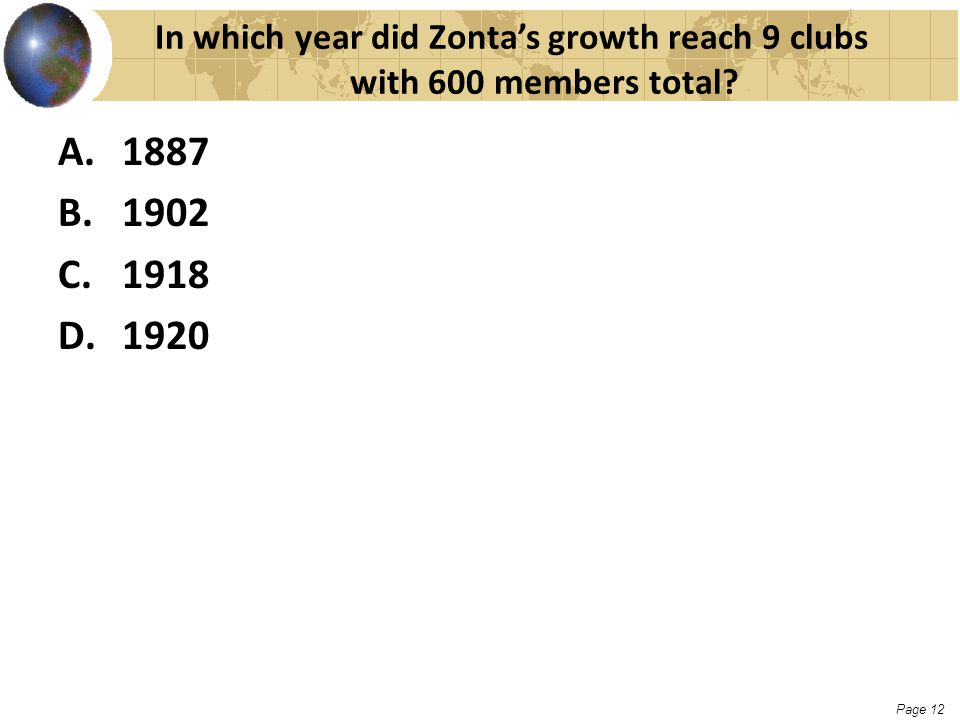 Page 12 In which year did Zonta's growth reach 9 clubs with 600 members total? A.1887 B.1902 C.1918 D.1920