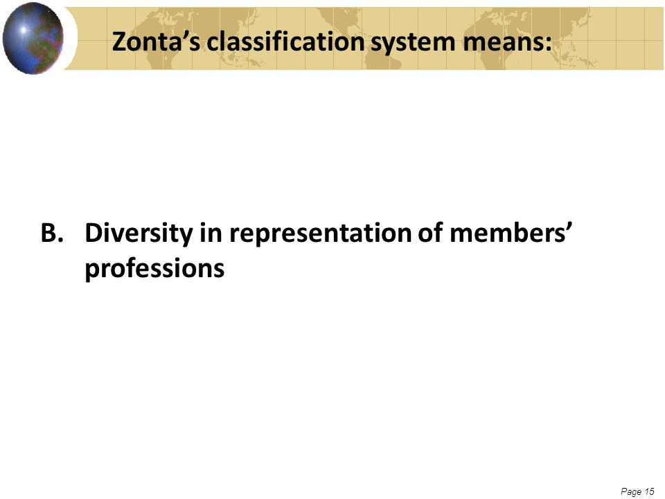 Page 15 Zonta's classification system means: B. Diversity in representation of members' professions