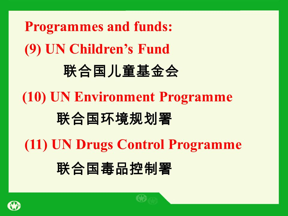 Programmes and funds: (9) UN Children's Fund 联合国儿童基金会 (10) UN Environment Programme (11) UN Drugs Control Programme 联合国环境规划署 联合国毒品控制署