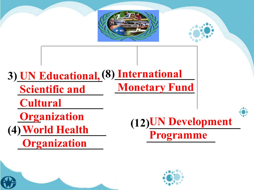 (8)______________ ______________ 3)_______________ _______________ _______________ ____ (4)_______________ _______________ UN Educational, Scientific and Cultural Organization World Health Organization International Monetary Fund (12)________________ ____________ UN Development Programme