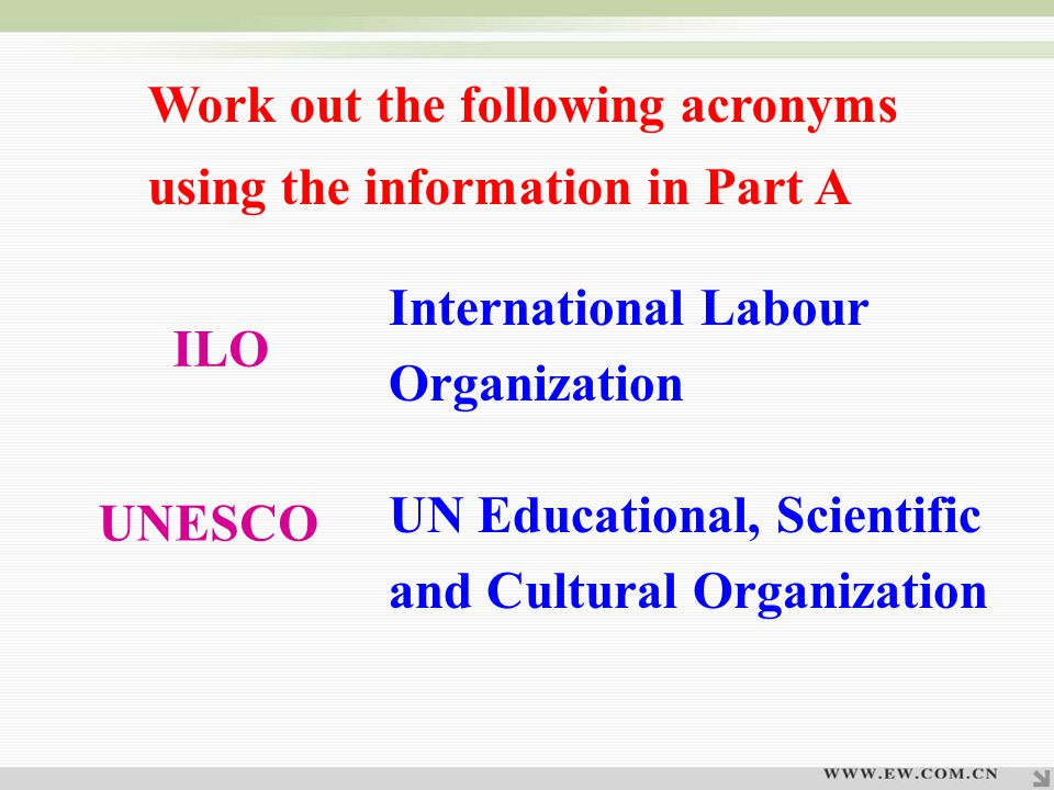 International Labour Organization UN Educational, Scientific and Cultural Organization ILO UNESCO Work out the following acronyms using the information in Part A