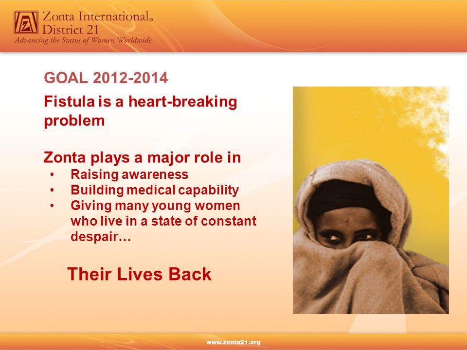 GOAL 2012-2014 Fistula is a heart-breaking problem Zonta plays a major role in Raising awareness Building medical capability Giving many young women who live in a state of constant despair… Their Lives Back