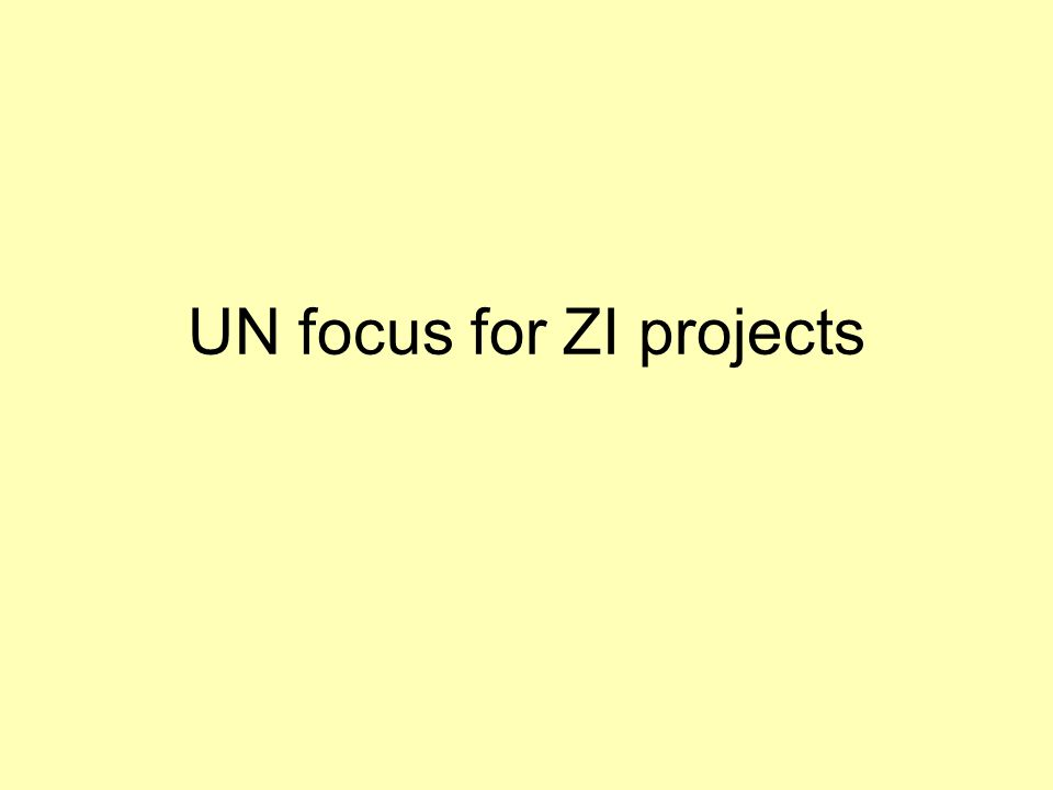 UN focus for ZI projects