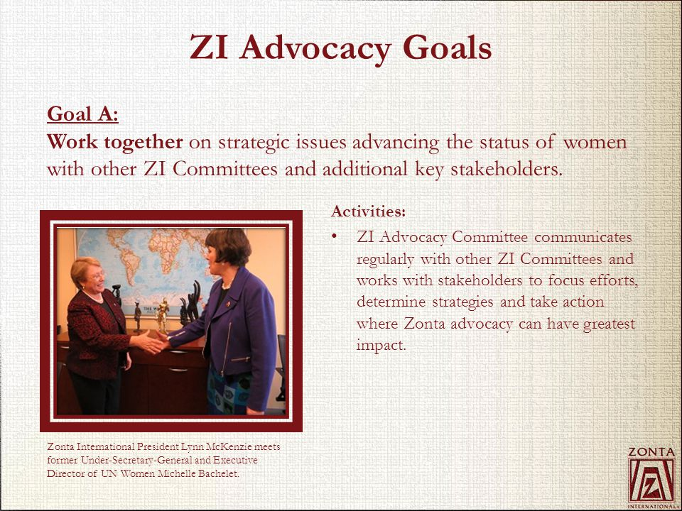 ZI Advocacy Goals Activities: ZI Advocacy Committee communicates regularly with other ZI Committees and works with stakeholders to focus efforts, dete