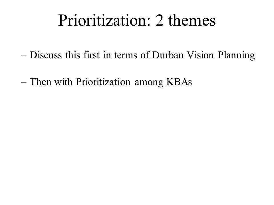 Date Used for Durban Vision Prioritization Previous prioritization initiatives GEF prioritization workshop in 1995 Important Bird Areas (Birdlife )in 1999 Plan GRAP (Potential Protected areas) CI Total Biodiversity coverage workshop in 2001 Assessment of Priority Areas for Plants Conservation: APAPC (MBG) in 2005 Regional prioritizations workshops Durban Vision Prioritization National database for Durban Vision Outcomes database (KBAs database) –Vulnerability: threatened species status (CR/EN/VU) –Irreplaceability: site specific endemics