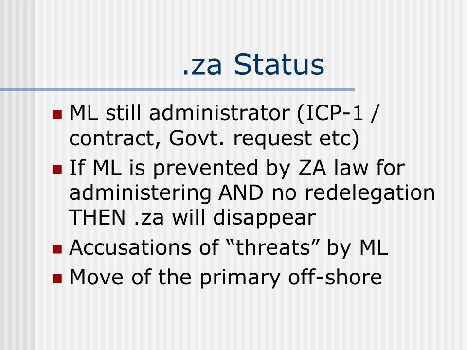 .za Status ML still administrator (ICP-1 / contract, Govt.