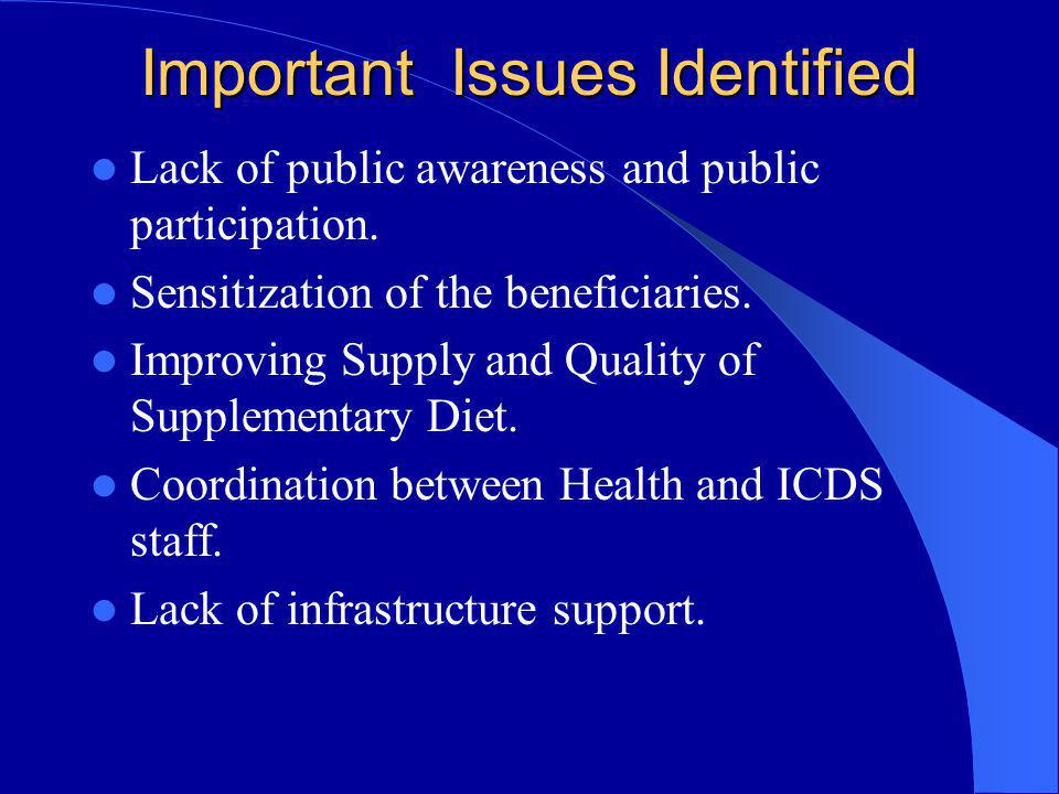 Important Issues Identified Lack of public awareness and public participation. Sensitization of the beneficiaries. Improving Supply and Quality of Sup