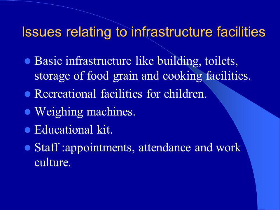 Issues relating to infrastructure facilities Basic infrastructure like building, toilets, storage of food grain and cooking facilities. Recreational f