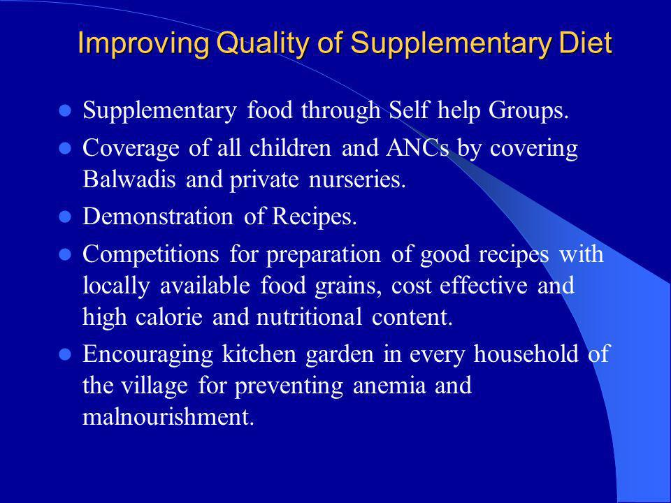 Improving Quality of Supplementary Diet Improving Quality of Supplementary Diet Supplementary food through Self help Groups. Coverage of all children