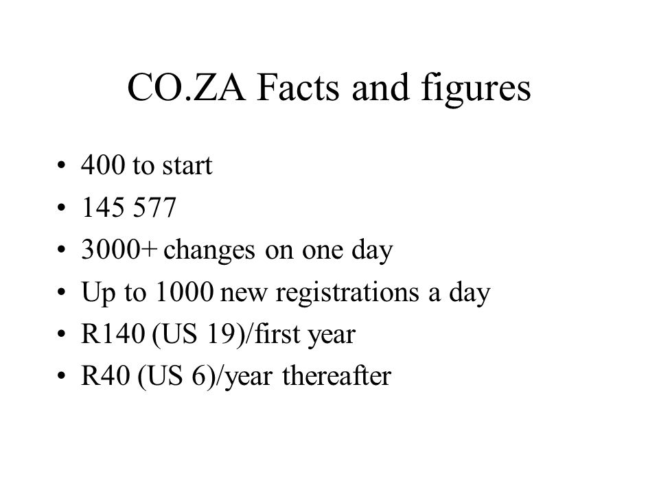 CO.ZA Facts and figures 400 to start 145 577 3000+ changes on one day Up to 1000 new registrations a day R140 (US 19)/first year R40 (US 6)/year there