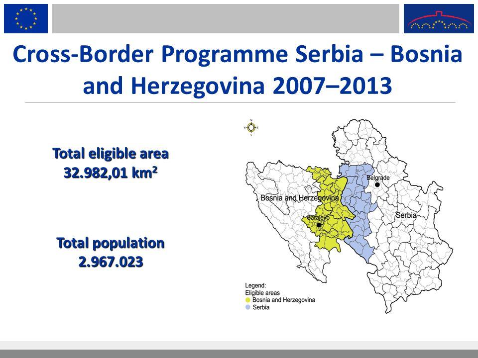 Cross-Border Programme Serbia – Bosnia and Herzegovina 2007–2013 Total eligible area 32.982,01 km 2 Total population 2.967.023