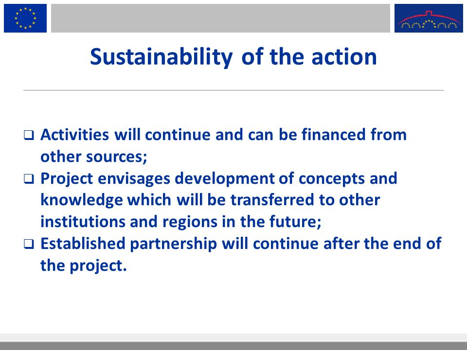 Sustainability of the action  Activities will continue and can be financed from other sources;  Project envisages development of concepts and knowle