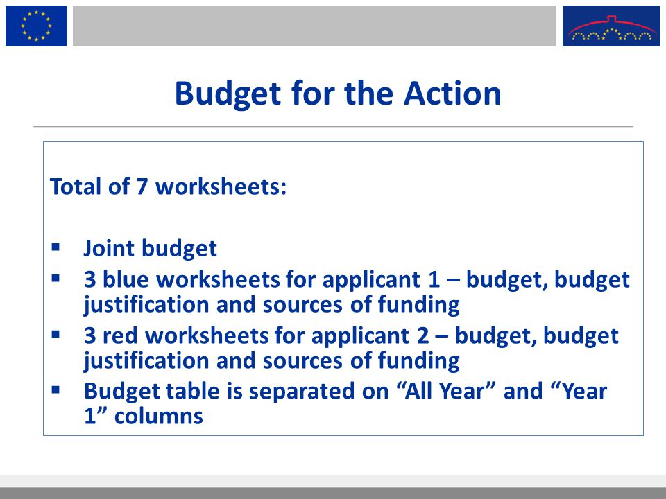Budget for the Action Total of 7 worksheets:  Joint budget  3 blue worksheets for applicant 1 – budget, budget justification and sources of funding