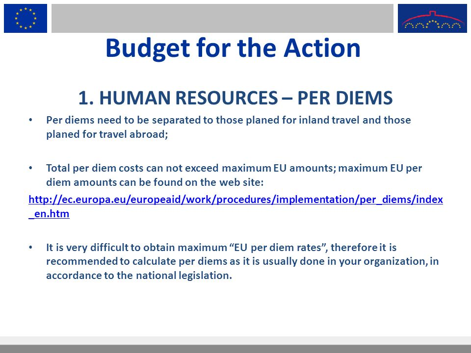Budget for the Action 1. HUMAN RESOURCES – PER DIEMS Per diems need to be separated to those planed for inland travel and those planed for travel abro