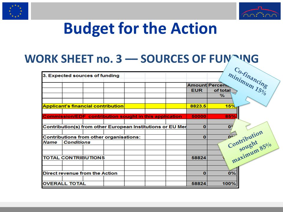 Budget for the Action WORK SHEET no. 3 –– SOURCES OF FUNDING Co-financing minimum 15% Contribution sought maximum 85%