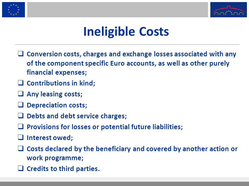Ineligible Costs  Conversion costs, charges and exchange losses associated with any of the component specific Euro accounts, as well as other purely