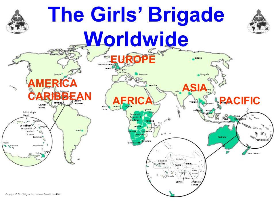 The Girls' Brigade Worldwide Bermuda USA Canada Scotland England & Wales Northern Ireland Ireland Romania Palestine India Bangladesh Hong Kong Cambodi