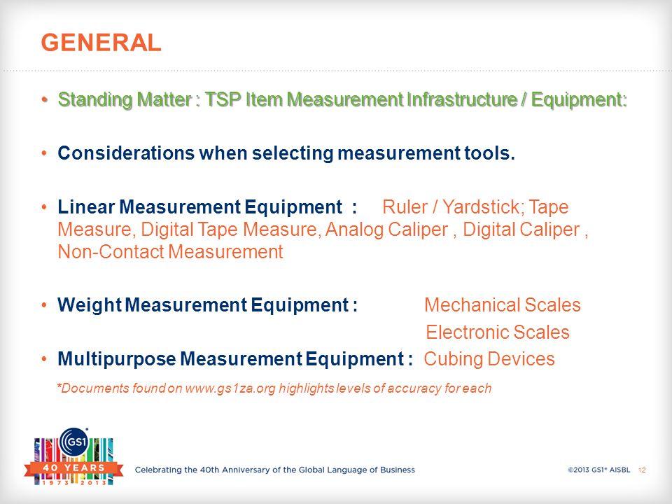 Standing Matter : TSP Item Measurement Infrastructure / Equipment:Standing Matter : TSP Item Measurement Infrastructure / Equipment: Considerations when selecting measurement tools.