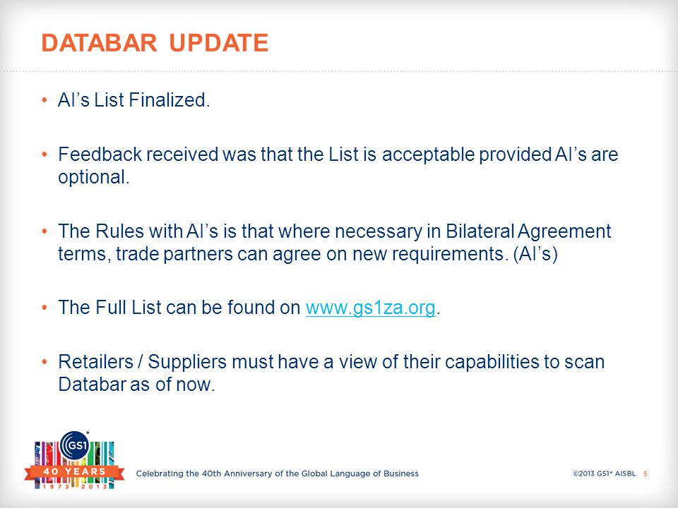 AI's List Finalized. Feedback received was that the List is acceptable provided AI's are optional. The Rules with AI's is that where necessary in Bila
