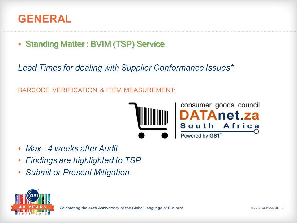 Standing Matter : BVIM (TSP) ServiceStanding Matter : BVIM (TSP) Service BVIM ( DATAnet.za ) System reporting Structure: BARCODE VERIFICATION & ITEM MEASUREMENT PLATFORM: FLAGS TREND REPORTS DASHBOARDS GENERAL 8