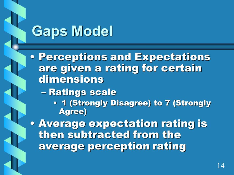 Gaps Model Perceptions and Expectations are given a rating for certain dimensionsPerceptions and Expectations are given a rating for certain dimension