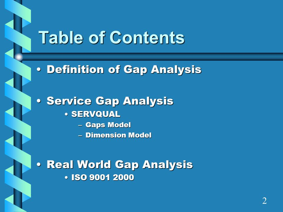 Definition of Gap Analysis Formal means to identify and correct gaps between desired levels and actual levels of performanceFormal means to identify and correct gaps between desired levels and actual levels of performance Used by organizations to analyze certain processes of any division of their companyUsed by organizations to analyze certain processes of any division of their company 3