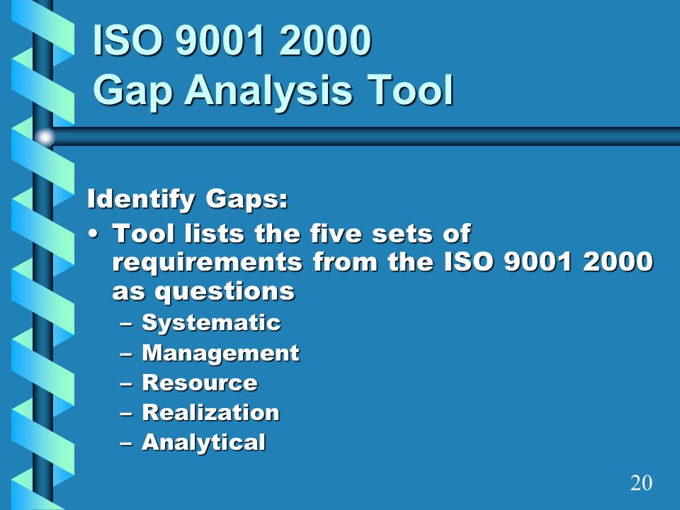 ISO 9001 2000 Gap Analysis Tool Identify Gaps: Tool lists the five sets of requirements from the ISO 9001 2000 as questionsTool lists the five sets of
