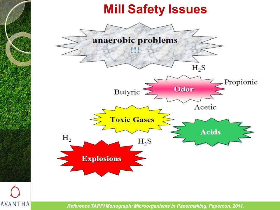 Mill Safety Issues Reference TAPPI Monograph: Microorganisms in Papermaking, Papercon, 2011.