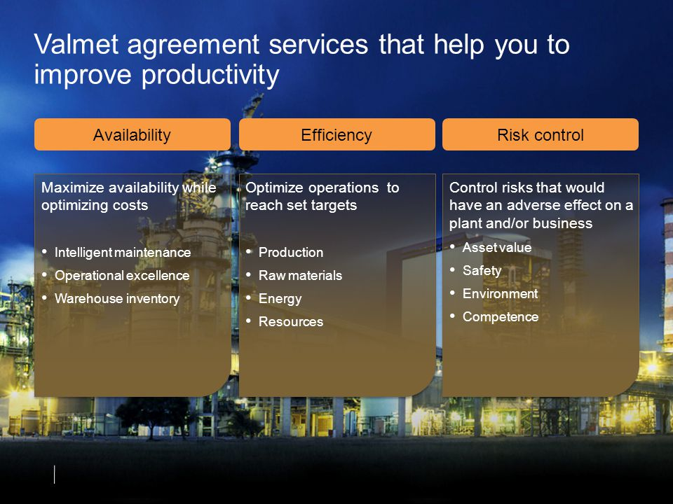 Valmet agreement services that help you to improve productivity AvailabilityEfficiencyRisk control Maximize availability while optimizing costs Intelligent maintenance Operational excellence Warehouse inventory Optimize operations to reach set targets Production Raw materials Energy Resources Control risks that would have an adverse effect on a plant and/or business Asset value Safety Environment Competence