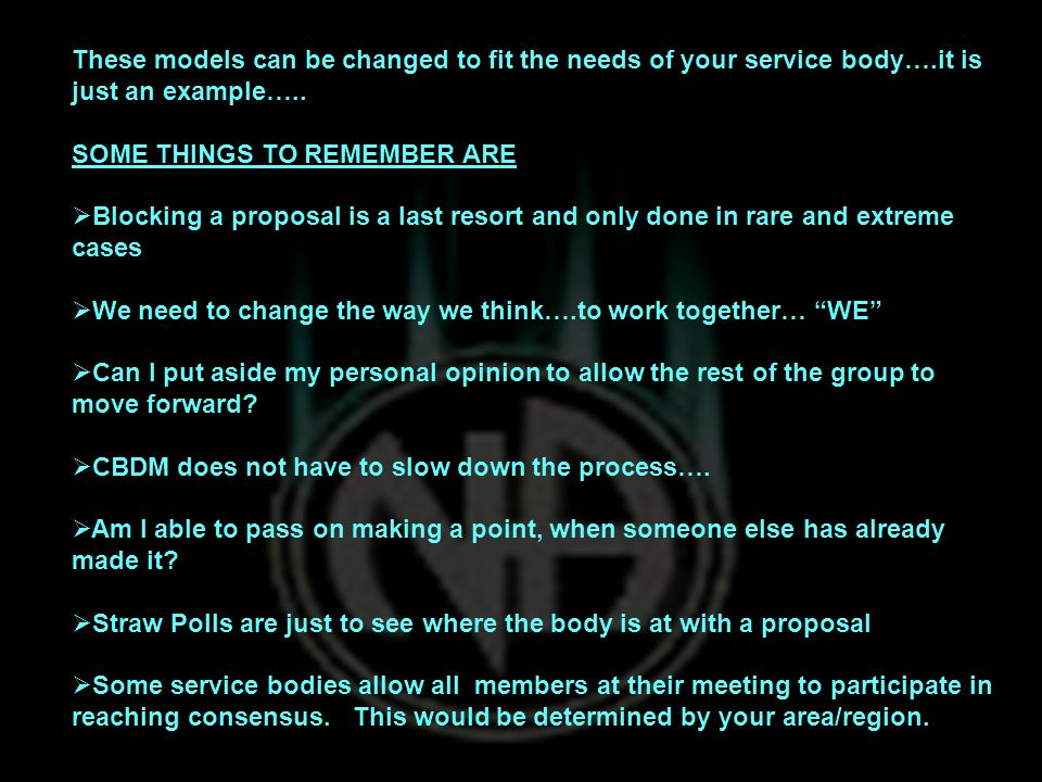 These models can be changed to fit the needs of your service body….it is just an example…..
