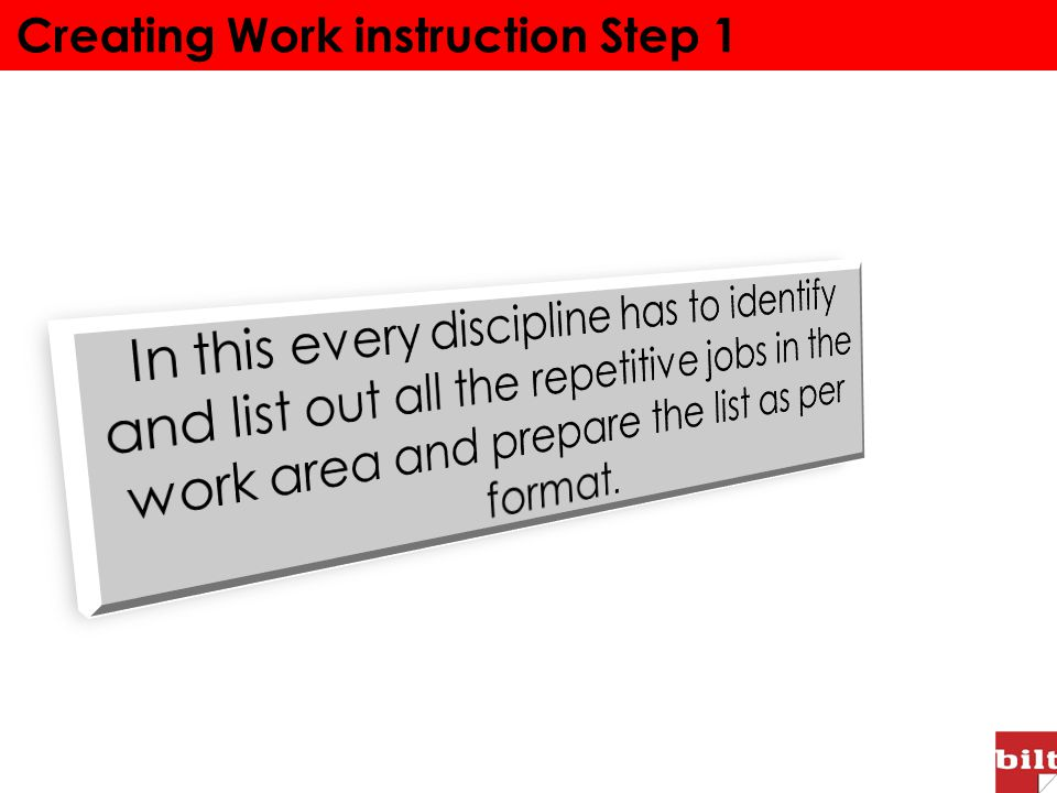 Creating Work instruction Step 1