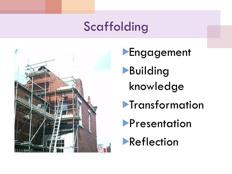 Scaffolding  Engagement  Building knowledge  Transformation  Presentation  Reflection