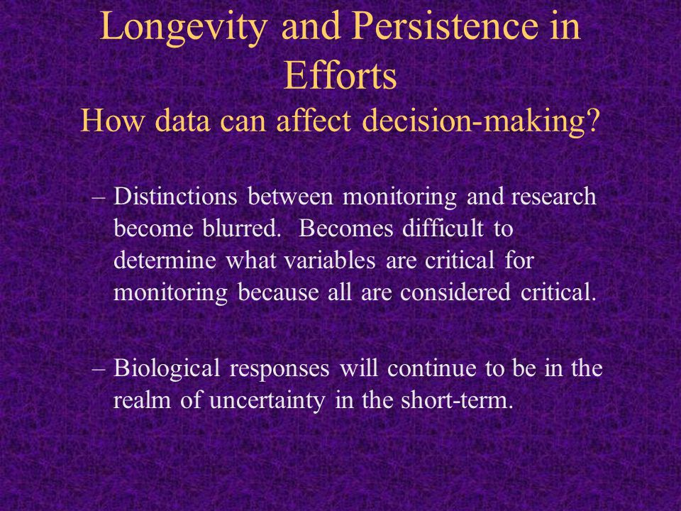 Longevity and Persistence in Efforts How data can affect decision-making.