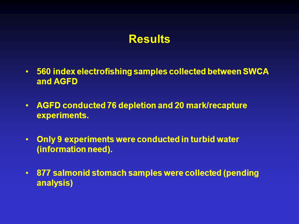 560 index electrofishing samples collected between SWCA and AGFD AGFD conducted 76 depletion and 20 mark/recapture experiments.