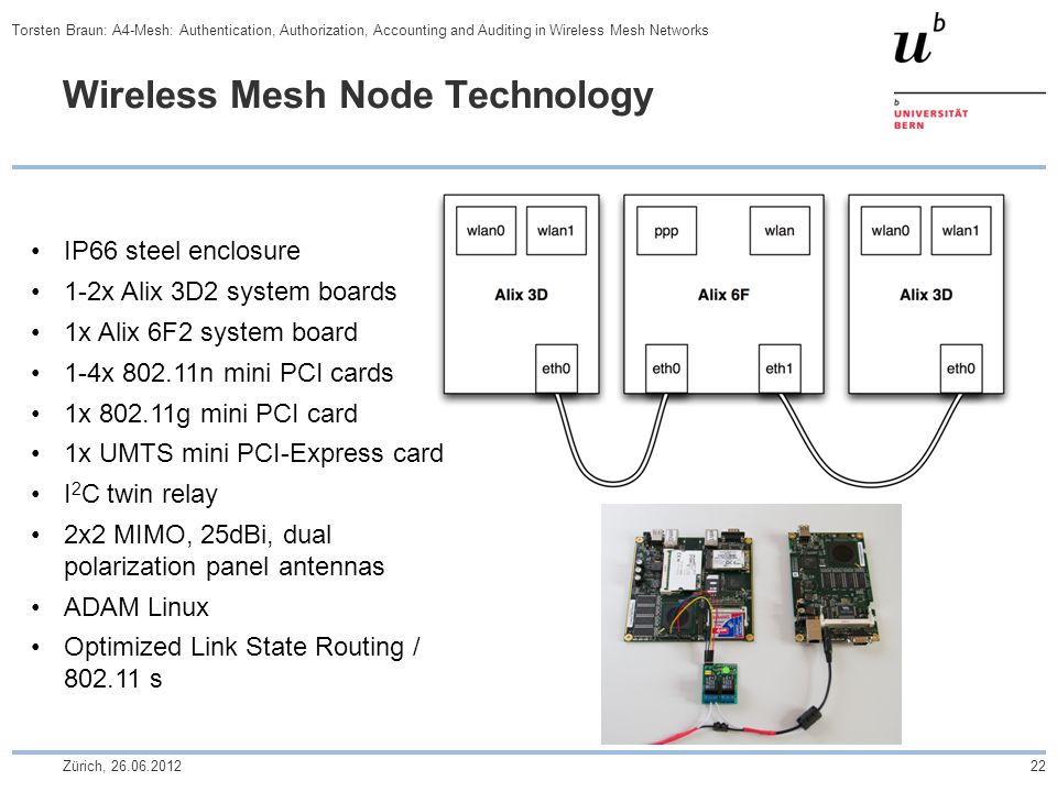 Wireless Mesh Node Technology IP66 steel enclosure 1-2x Alix 3D2 system boards 1x Alix 6F2 system board 1-4x 802.11n mini PCI cards 1x 802.11g mini PCI card 1x UMTS mini PCI-Express card I 2 C twin relay 2x2 MIMO, 25dBi, dual polarization panel antennas ADAM Linux Optimized Link State Routing / 802.11 s Zürich, 26.06.201222 Torsten Braun: A4-Mesh: Authentication, Authorization, Accounting and Auditing in Wireless Mesh Networks