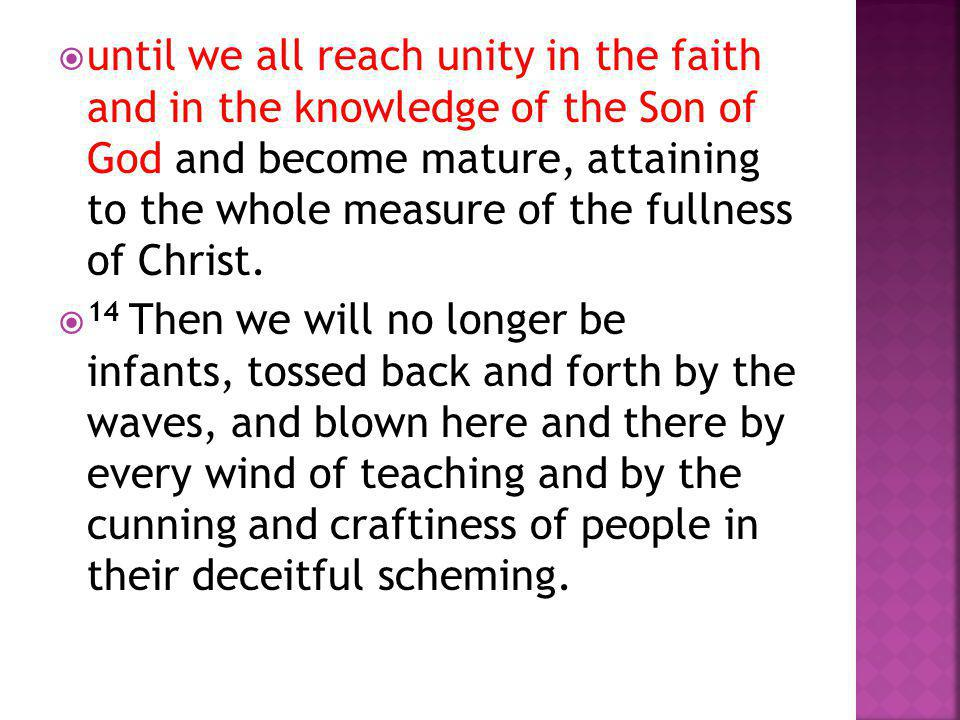  until we all reach unity in the faith and in the knowledge of the Son of God and become mature, attaining to the whole measure of the fullness of Ch