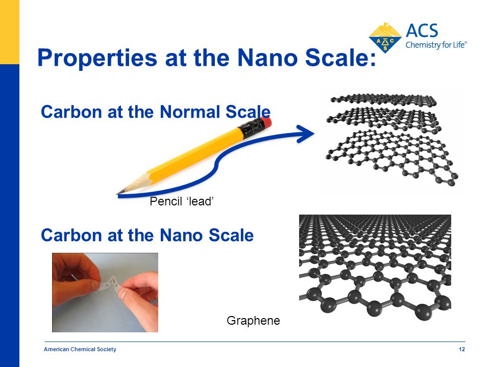 Carbon at the Normal Scale American Chemical Society 12 Carbon at the Nano Scale Properties at the Nano Scale: Pencil 'lead' Graphene