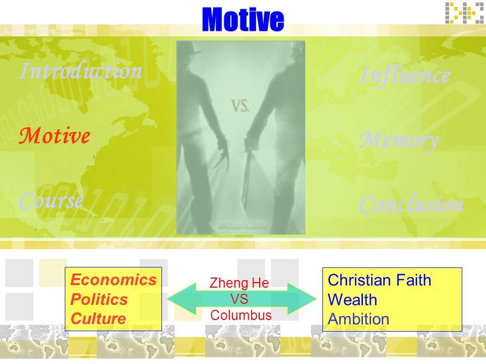 Motive Introduction Motive Course Influence Memory Conclusion Economics Politics Culture Christian Faith Wealth Ambition Zheng He VS Columbus