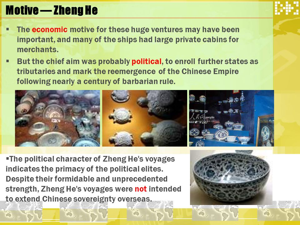 Zheng He and Columbus Conclusion  Zheng He and Columbus obtain obviously different appraisal, even though they similarly sailed along the navigation route which their ancestors never passed through.